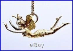 Pendentif breloque ancien Art Nouveau fée en argent massif vermeil 1900