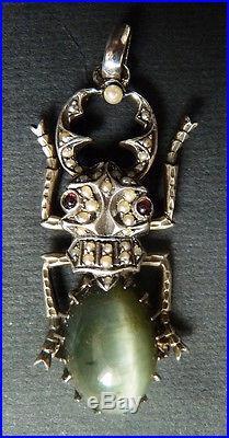 Pendentif en argent massif + perles scarabée ART NOUVEAU silver scarab pendant