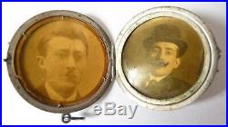 Pendentif porte-photo en argent massif ART NOUVEAU vers 1900 érable