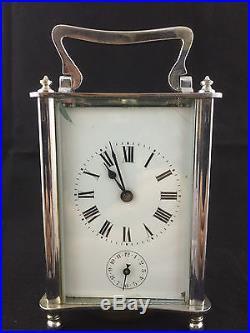 Pendule pendulette de voyage squelette art-nouveau art- déco bronze argenté