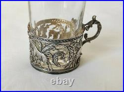 Petit Porte verre Argent massif Art Nouveau Antique silver tea glass holder