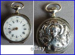 Petite montre à gousset argent massif signé E. T ART NOUVEAU silver watch