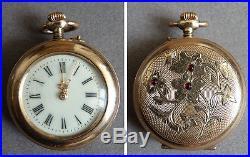 Petite montre à gousset de col en vermeil argent rubis ART NOUVEAU silver watch