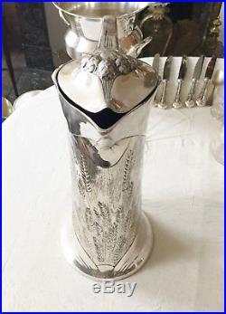 Pichet Art Nouveau CHRISTOFLE Métal Argenté Verseuse Carafe Aiguière 38cm GALLIA