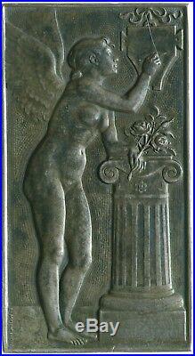 Plaquette Argent Eugene E MOUCHON Art Nouveau Ange et Lierre