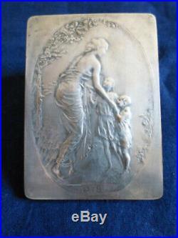 Plaquette belge art nouveau bronze argente par Pierre Theunis, 71x51mm