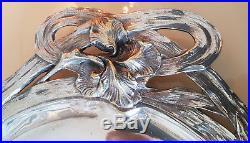 Plateau En Metal Argente Art Nouveau Aux Fleurs D'iris Reczka Bordeaux