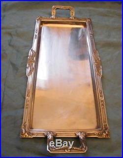 Plateau à poignées en métal argenté Orfèvrerie Gallia 5024 poincon Art Nouveau