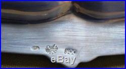 Plateau carré en argent italien CESA orné de perles et fleurons 757 gr