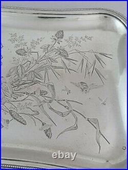 Plateau en argent massif Art nouveau Minerve
