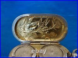 Porte louis d'or art nouveau argent massif vermeil Quitte Prudent 1882
