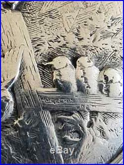 Poudrier en argent massif signé hugenin art nouveau