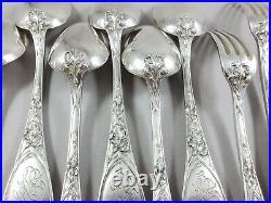 Puiforcat 6 couverts en argent massif Art Nouveau iris fourchettes cuillères