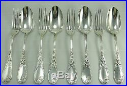 Puiforcat Iris 4 fourchettes + 4 cuillères de table, argent Minerve, Art Nouveau