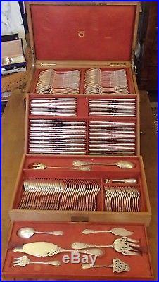 Puiforcat Rare Menagere 171 Pieces Argent Vermeil Minerve Art Nouveau Decor Iris