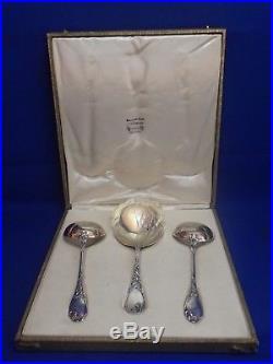 Puiforcat Rare Service A Fraises Argent Vermeil Minerve Art Nouveau Modele Iris