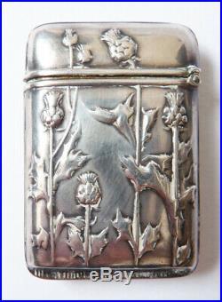 Pyrogène boite pour allumettes en argent ART NOUVEAU 1900 chardon silver box