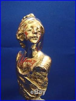 Rare Buste Jeune Femme Style Art Nouveau Argent Massif Socle Amethyste Brute