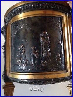 RARE Grande Jardinière métal argent signé L. OUDRY Napoleon III Putti Art Nouveau