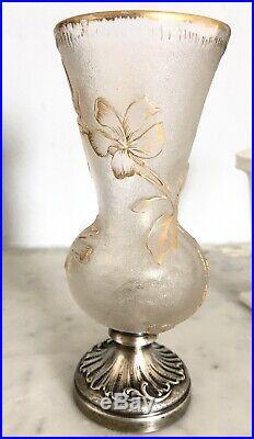RARE Petit vase de vitrine verre argent FRERES DAUM Art-Nouveau 1890 Fleurs 12cm