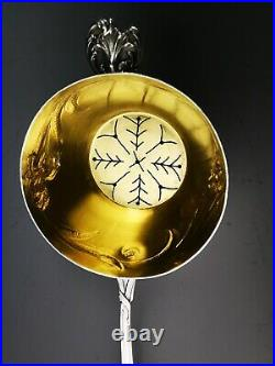 RAVINET D'ENFERT Passe thé à décors IRIS Art nouveau Argent Minerve