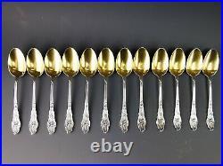 RAVINET D'ENFERT Suite de 12 cuillères décors IRIS Art nouveau Argent Minerve