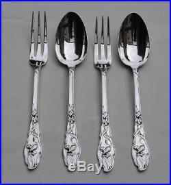 RAVINET IRIS 2 COUVERTS DE TABLE EN ARGENT MASSIF ART NOUVEAU Sterling Silver