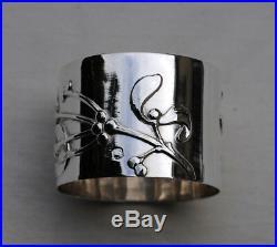 ROND DE SERVIETTE EN ARGENT MASSIF ART NOUVEAU GUI Sterling Silver Napkin Ring