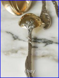 ROUSSEL Superbes cuillère a dessert café en argent et vermeil art nouveau 1900