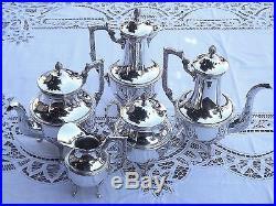 ROUX MARQUIAND SERVICE A THE CAFE ET CHOCOLAT 5 PIECES METAL ARGENTE Ca1920