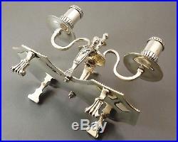 Rare Bougeoir A Main A 2 Feux En Bronze Argente A Decor De Godrons Xix° Siecle