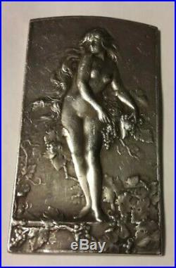 Rare Médaille art nouveau argent La Vigne plaquette Coudray Nu