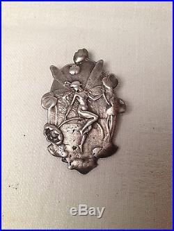Rare! Ravissant Pendentif En Argent Femme Libellule Art Nouveau