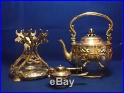 Rare Samovar Fontaine A The Art Nouveau En Argent Massif Avec Armoiries