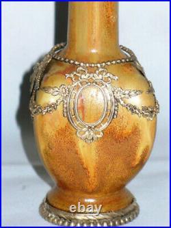 Rare Vase Soliflore Gres Emaillé & Metal Argenté Art Nouveau Denbac, Dalpayrat
