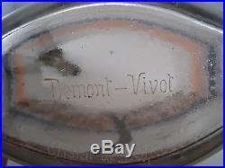 Rare Vase émaillé Cristal de Bohême dépoli sur socle métal argenté ART NOUVEAU