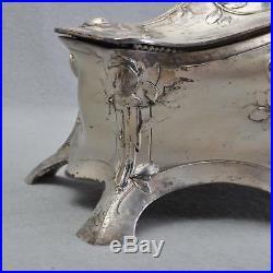 Rare WMF Art Nouveau Boîte à Bijoux/Boîte à Bijoux, Plaqué Argent, Rare