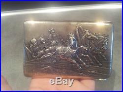 Rare ancien etui cigarette silver argent russie russian 19eme art nouveau 150 gr