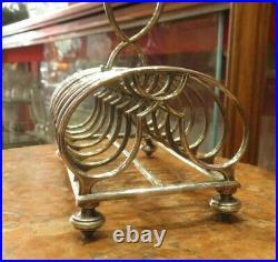 Rare ancien porte toast metal argenté christofle epoque 1900 poincon art nouveau
