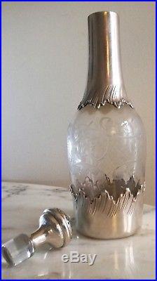 Rare carafe en cristal et argent massif, décor art nouveau! Poinçon Minerve