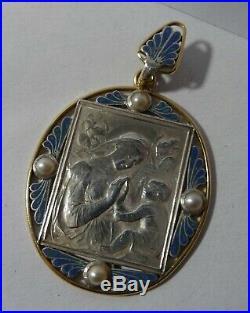 Rare medaille religieuse emaillée Art nouveau Sainte Vierge argent et or