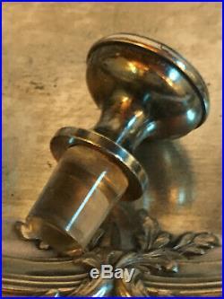 Rare paire de carafes en cristal taillé & métal argenté. ART NOUVEAU XIXe siècle