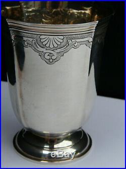 Rare timbale piedouche deco art nouveau argent poinçon minerve vermeil