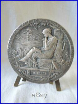 Roty medaille art nouveau bronze argenté bronze coulé diamètre 69mm