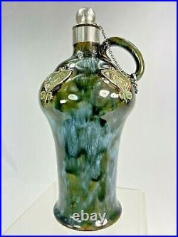 Royal Doulton Flacon A Alcool Art Nouveau Gres 1900 Monture Argent Earthenware