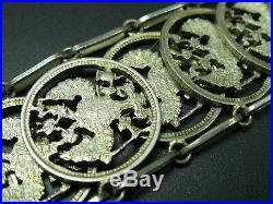 Russie Fait à la Main Très Beau Art Nouveau Bracelet avec Pièces en Argent