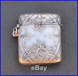 SILVER Art Nouveau 1900 Pyrogène boîte allumette ARGENT MASSIF