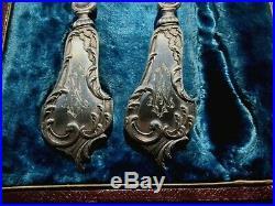SPLENDIDE paire de couverts à poisson Art Nouveau, en argent massif minerve