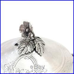 SUCRIER Décor Fleur Anémone Argent Massif f. XIX d. XXe