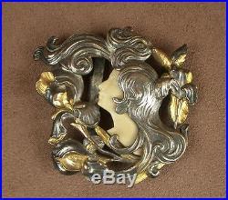Superbe Boucle De Ceinture Art Nouveau Metal Argente Et Dore Decor Femme Iris